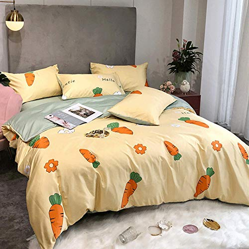 WOGQX Childrens Bedroom Bedding Bed Sets,Top items Summer bedding 4-piece king-size bed set Imitation silk embroidery bedspread Comfortable bed sheet pillow-A002_150 * 200