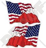 USA Vereinigte Staaten von Amerika und POLEN, Amerikanisch und Polnische Wehende Flagge, Fahne 120mm Auto & Motorrad Aufkleber, x2 Vinyl Stickers (Links - Rechts)