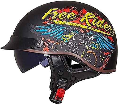 Moto Cascos Half-Helmet Transpirable Abiertos ColisióN Helmet ECE Certificado con Visera Abierto...