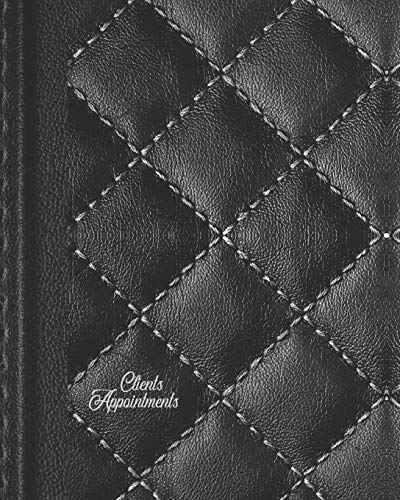 Clients Appointments: Black Daily Business Appointment Book - Undated Faux Leather Scheduler With Password Page & Note Paper