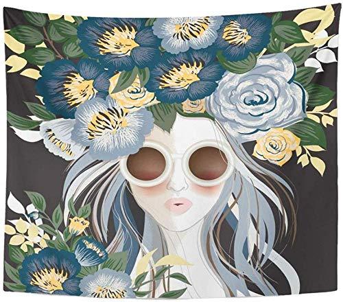 SJJUAN Amarillo Lindo De Gafas De Sol Mujer con Estampado Floral En El Pelo Negro Azul Cara Chica Decoración del Hogar Tapices Artísticos