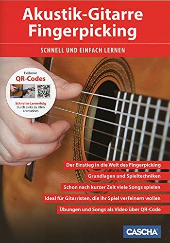 CASCHA Akustik-Gitarre Fingerpicking - Schnell und einfach lernen: Schneller Lernerfolg durch Lernvideos über QR-Code