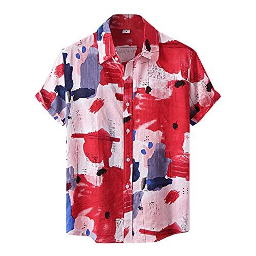Camisa para hombre de manga corta, informal, con estampado de acuarela, de manga corta, para verano, ajustada, con botones impresos, para verano, informal, de talla corta