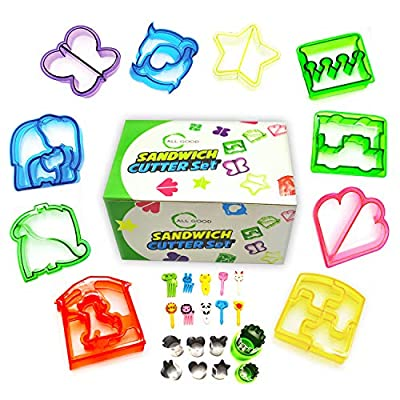 All Good Sandwich Cutter Set For Kids 30 pcs Bento Box Accessories Perfect for Preparing Kids Lunch. Vegetables, Fruit, Cheese and Cookie Stamps Create Fun Images Included Colorful Animal Food Picks