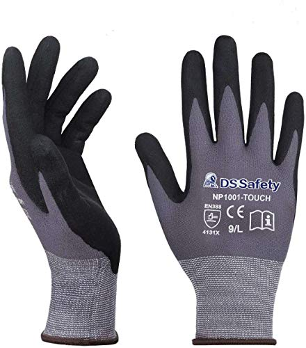 DS Safety NP1001 Nylon Knit Work Gloves with Micro Foam Technology & Spandex Liner Nitrile Coated Work Gloves,Touch Screen,Men's Thin Working Gloves 3 Pairs(M)