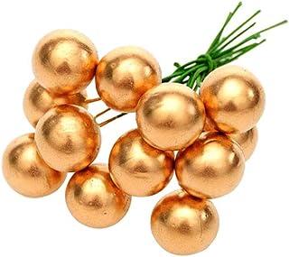 PRETYZOOM 50PCS Piccole bacche di frutta artificiali con gambo di fiori finti Cherry Stamens DIY Craft accessorio (oro)