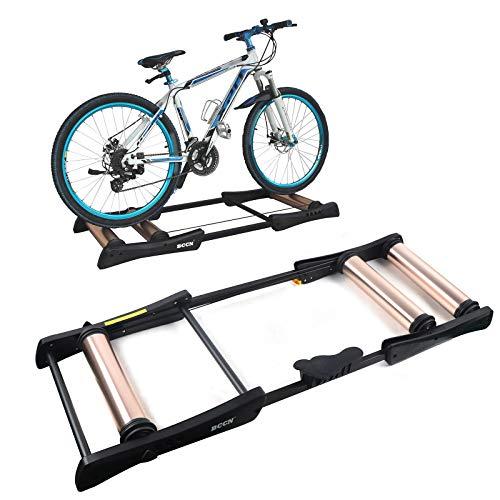 Rodillos de entrenamiento para bicicletas,Bicicleta de carreras,Bicicleta estática,Volante plegable,150kg Capacidad máxima de carga (Desarrollo:141*11cm,Rodamiento:51.5*27*53cm) (Negro champán)