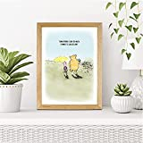 CUSTOMISED Cute Winnie The Pooh Love Art Print | Sweet, Charming Design | A3, A4 and A5 Wood Effect Frames Available Made in UK