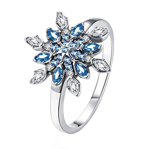 HIJONES Mujer 925 Plata Esterlina Copo De Nieve Azul Cubic Zirconia Anillo...