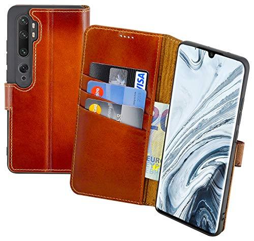 Suncase Book-Style Hülle kompatibel mit Xiaomi Mi Note 10 Leder Tasche (Slim-Fit) Lederhülle Handytasche Schutzhülle Hülle mit 3 Kartenfächer in Burned-Cognac