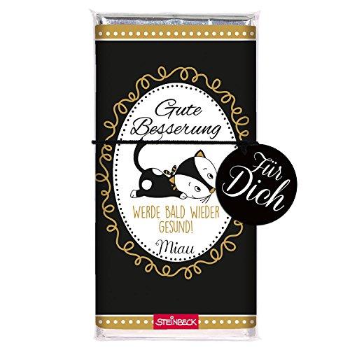 STEINBECK Schokolade Gute Besserung Katze Vollmilch 100g Schokoladentafel Geschenk Gesundheit süße Medizin Mitgebsel schwarz gold