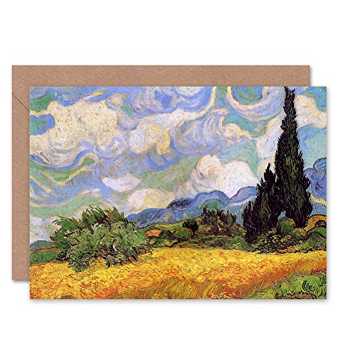Wee Blue Coo Vincent Van Gogh Wheat Field with Cypresses 1889 Sealed Greeting Card Plus Envelope Blank Inside Feld
