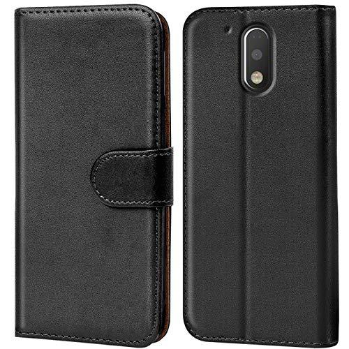 Conie Handyhülle für Motorola Moto G4 / G4 Plus Hülle, Premium PU Leder Flip Case Booklet Cover Weiches Innenfutter für Moto G4 / G4 Plus Tasche, Schwarz