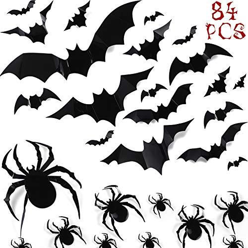 84 Verschiedene Fledermäuse Spinnen Wandaufkleber DIY Halloween Party liefert PVC 3D Halloween Wiederverwendbare Dekorative Beängstigende Wandtattoo für Haus Fensterbilder Dekorationen