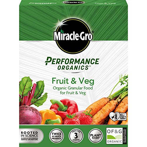 Miracle-Gro Performance Organics Plant Food-1KG (Bee, Pet & Child Friendly) Granular Fruit & Veg Food, Grey