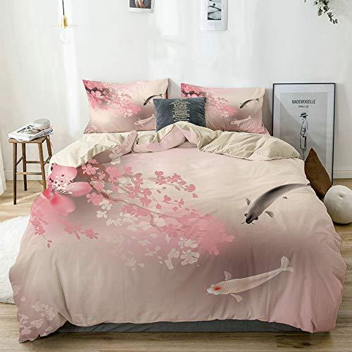 KASMILN Color Crema Set Biancheria da Letto,Sakura Blossom in Giappone con Creature Sacre Cultura Asiatica Lovely Nature Orient,1 Copripiumino 200x200cm+2 federe 50x80cm
