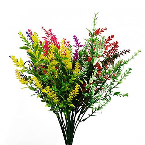 7 Bunches Artificial Flowers Lavender Flowers, 7 Colors Lifelike Combinations No Fade Faux Lavender Bouquets, Wedding Eternal Flowers, Flower Plants DIY Home Garden Decoration (7 Colors)