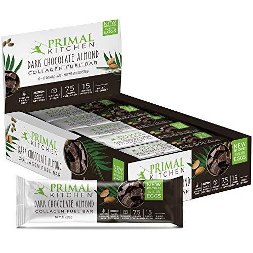 Primal Kitchen - Dark Chocolate Almond Collagen Protein Bars, 12g of Protein, Paleo Approved (Pack of 12, 1.69 oz)