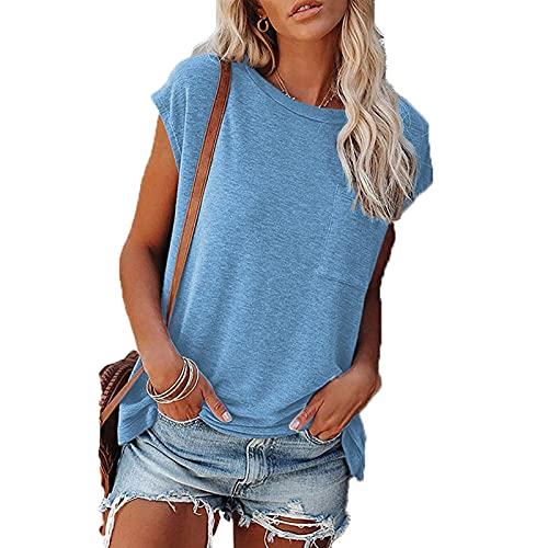 SLYZ Camiseta De Manga Corta De Verano para Mujer, Bolsillos Sin Tirantes De Color Sólido, Cuello Redondo, Camiseta De Manga Corta para Mujer