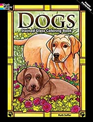 dogs stained glass coloring book for adults