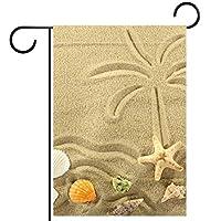 ホームガーデンフラッグ両面春夏庭屋外装飾 12x18INCH,海の島と砂に描かれたヤシの木のヒトデ