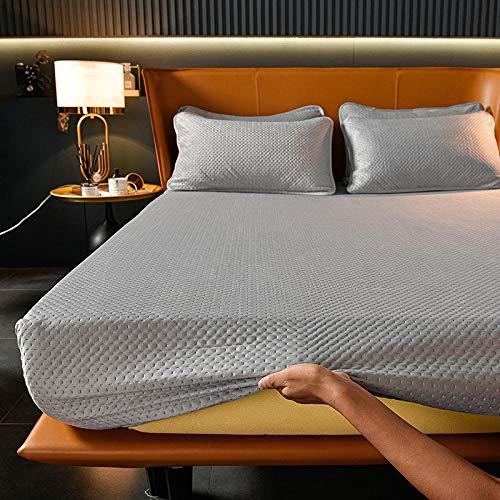 Lavable a máquina Sábana ajustable premium,Sábanas ajustables de terciopelo de cristal cálido de invierno,hotel Casa de familia Protector de colchón antideslizante de color sólido gris 200x220cm