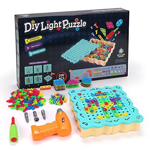 LITTLE COW 組み立ておもちゃ 子供用 電動ドリル ネジ 積み木 ツールボックス カラフル おもちゃセット 収...