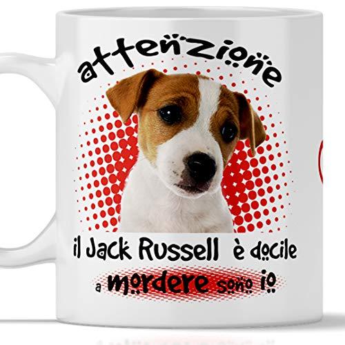 Taza de Jack Russell divertida. El perro es docile a morder soy. Apta para desayuno, té, tisana, café, capuchino. Taza Jack Russell. También como idea de regalo original y simpática