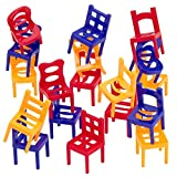 Kicko Chair Stacking Game - 2 Pack - 36 Mini Chairs - Tower Balancing Game, Strategy Games for Kids, Family Game Night, Travelling, Summer Camp, Educational Puzzles, Party Favors, and More