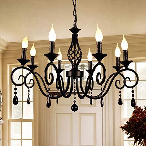 Candelabros de Ganeed, candelabro de vela de cristal de país francés de 8 luces, accesorio de iluminación colgante vintage negro...