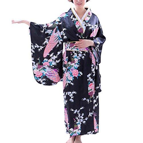 Fancy Pumpkin [Peacock] Albornoz Kimono Yukata de Estilo japonés para Cosplay, Negro
