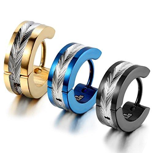 Cupimatch 3 Paare Edelstahl Creolen Ohrstecker Ohrringe Gestüt Ohrschmuck Modeschmuck für Damen Herren, gold schwarz blau