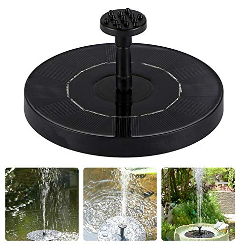 Groust Fontein op zonne-energie, 1,8 W, fontein op zonne-energie, voor buiten, met 4 verschillende draagbare ronde fonteinpomp op zonne-energie, voor zwembad, tuin, aquarium