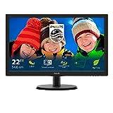 Philips Monitor 223V5LSB Monitor 22' LED, Full HD, 1920 x 1080, 250 cd/m², 5 ms, DVI, VGA, Attacco Vesa, Nero