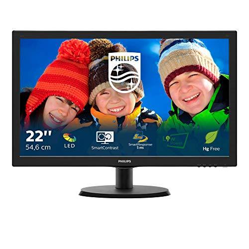 """Philips Monitor 223V5LSB Monitor 22"""" LED, Full HD, 1920 x 1080, 250 cd/m², 5 ms, DVI, VGA, Attacco Vesa, Nero"""