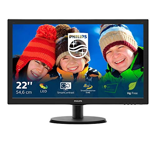 Philips Monitor 223V5LSB Monitor 21,5' LED, Full HD, 1920 x 1080, 250 cd/m², 5 ms, DVI, VGA, Attacco Vesa, Nero