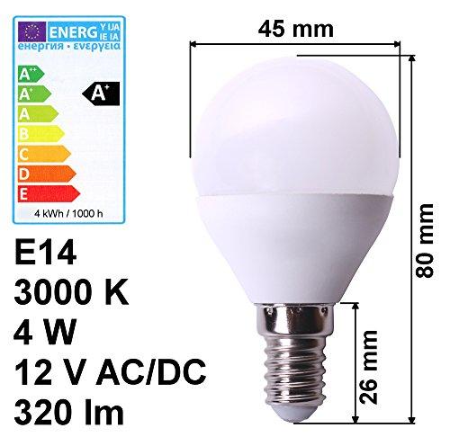edi-tronic LED Lampe E14 12V 4W A+ warmweiß 3000K 320lm Birne Energiesparlampe Volt Leuchte