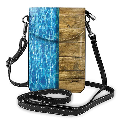 Women Small Cell Phone Purse Crossbody,Summer House Seem Swimming Pool With Wooden Seem Deck Image