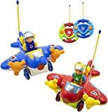 Hautton RC Cartoon Toy Race Car, 2 Pcs 2-Channel Remote Control Airplane Electric Radio Toy Vehicle with Removable Pilot, Music and Lights, Educational Learning Toy for Toddlers, Baby, Kids, Children