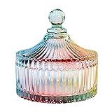 CHOOLDGLC Bocal à Bonbons en Cristal coloré en Forme de Tente avec Couvercle, Verre Transparent, pour apothicaire de Mariage,...
