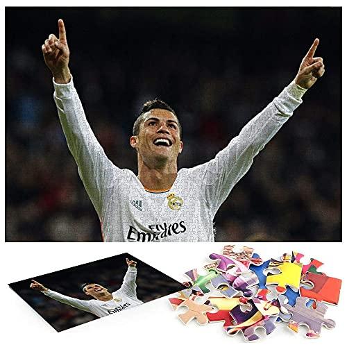 Jugador de fútbol Cristiano Ronaldo Portugal Real Madrid Puzzle Adultos 1000 Piezas Materiales reciclables y Rompecabezas Impresos de Alta resolución.