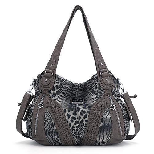 ZOCAI Bolso de mano para mujer, elegante, grande, para la oficina, la escuela, la compra (1555-3B#TIGER#28#BROWN)