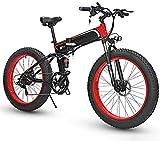 Bicicletas Eléctricas, Bicicleta eléctrica plegable Ebikes Moutain Bike Ligero 350W 48V, for hombre de montaña de las mujeres plegable E-Bici sistema Velocidad de transmisión 7, con 26 pulgadas de neu