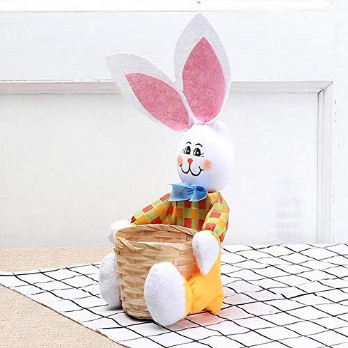 LINKLANK Cesta de almacenamiento de dulces, decoración de mesa de Pascua, cuenco de conejo, cesta de almacenamiento de alimentos, cesta de mimbre tejida para decoración de fiesta de Pascua