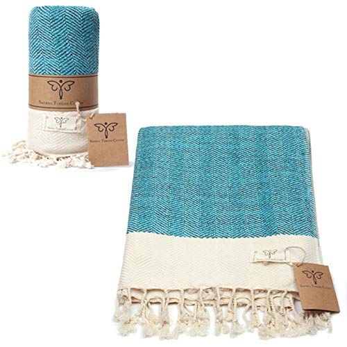 Smyrna Original Turkish Throw Blanket Herringbone Series   100% Cotton, 50 x 60 Inches   Vintage Boho Throw Blankets for Couch, Bed, Farmhouse and Home Decor   Lightweight and Super Soft (Turquoise)