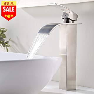 VESLA HOME 1.77 Inches Body Wide Tall Waterfall Single Handle Brushed Nickel Vessel Sink Bathroom Faucet, Lavatory Vanity Sink Faucet With Large Rectangular Spout