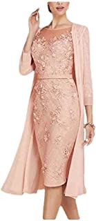 Womens 2-Piece Classy Lace Open-Front Pure Colour Pencil Sheath Dress