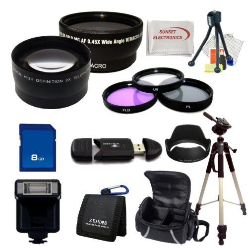 Nikon D3100 Digital SLR Camera Accessory Package Including Wide Angle Lens, Telephoto Lens, Filter Kit + 8gb Sdhc Memory Card & More !!