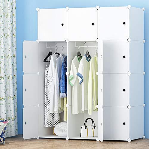PREMAG Portable Garderobe für hängende Kleidung, Kombischrank, modulare Schrank für platzsparende, Ideale Storage Organizer Cube für Bücher, Spielzeug(12-Würfel