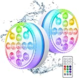 SPOMR Submersible Led Lights, IP68 Full Waterproof Pool Lights with Battery Remote Control, 13 Bright Beads 16 RGB Color Changing LED Shower Light for Party/Festival/Pool (2)